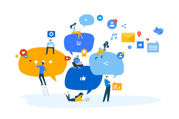 Wall Mural - Flat design concept of networking, online communication, internet community. Vector illustration for website banner, marketing material, business presentation, online advertising.