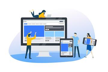 Wall Mural - Flat design concept of web design and development, responsive design, seo. Vector illustration for website banner, marketing material, business presentation, online advertising.