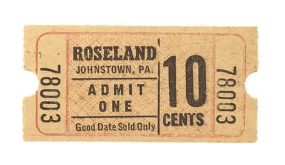Vintage Retro Ticket Eintrittskarte United States Amerika America Roseland Johnstown PA beige rot 10 cents Admit one kino theater movie Veranstaltung Event