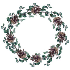 Watercolor wreath of eucalyptus branches with pine cones. Watercolor hand painted floral round frame isolated on white background.