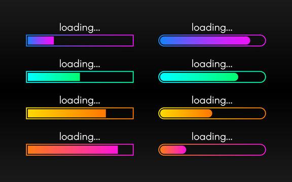 Loading bar set on dark backdrop. Progress visualization. Color gradient lines. Loading status collection. Web design elements on black background. Vector illustration