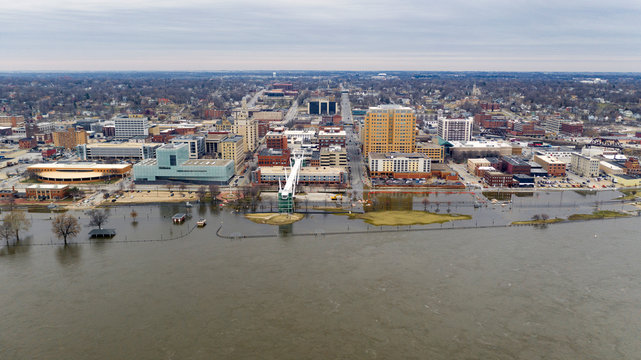 Flooding on the Mississippi Downtown Waterfront in Davenport Iowa