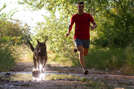 runner running across the field with his dog