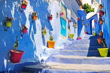 Typical beautiful moroccan architecture in Chefchaouen blue city medina in Morocco with blue walls