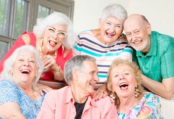 Six Laughing Senior Friends