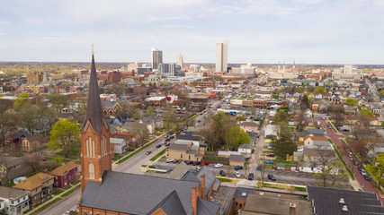 Fotomurales - Aerial View Over The Urban City Center Skyline in Fort Wayne Indiana