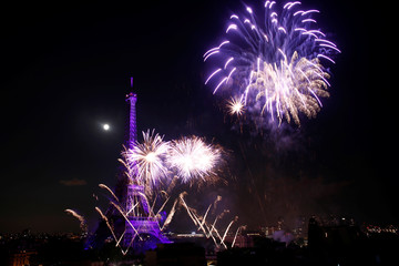 Fireworks explode in the sky above the Eiffel Tower, in a picture taken from the Shangri-La Hotel, Paris, at the end of Bastille Day events in Paris