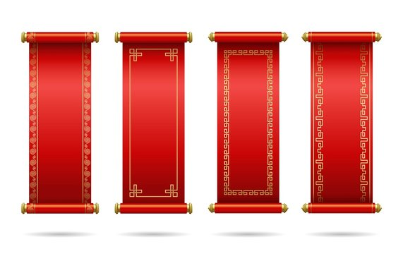 Chinese red scrolls festive.  Set of different scrolls with space for text. Template design Chinese new year, calendar, invitation, booklet, traditional festive decoration. Isolation. Vector