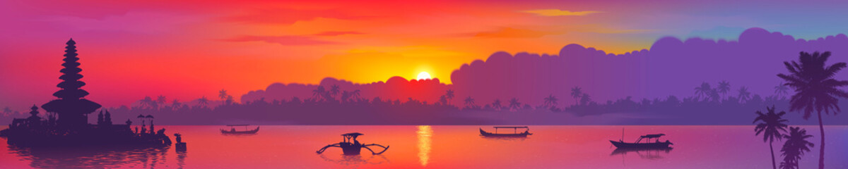 Stores photo Prune Colorful Asian sunset Balinese landmarks panoramic view, vector illustration of Bali water temple, palm trees and fishing boats in ocean