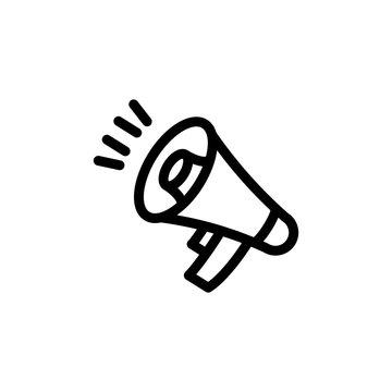 flat line megaphone icon symbol sign, logo template, vector, eps 10