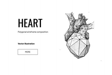 Vector isolated heart with pain center. Low poly wireframe and points. Polygonal 3D white human organ on dark background. Medicine concept with geometry triangle. Abstract heart pain mash line origami