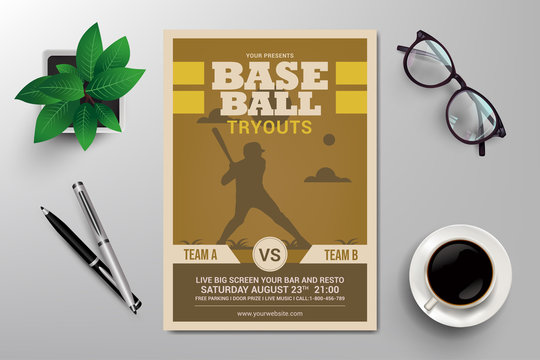 baseball tryouts flyer template vector