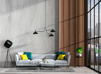 Interior living room concrete wall and landscape. 3D render
