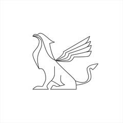 griffin gargoyle logo vector illustration line art style