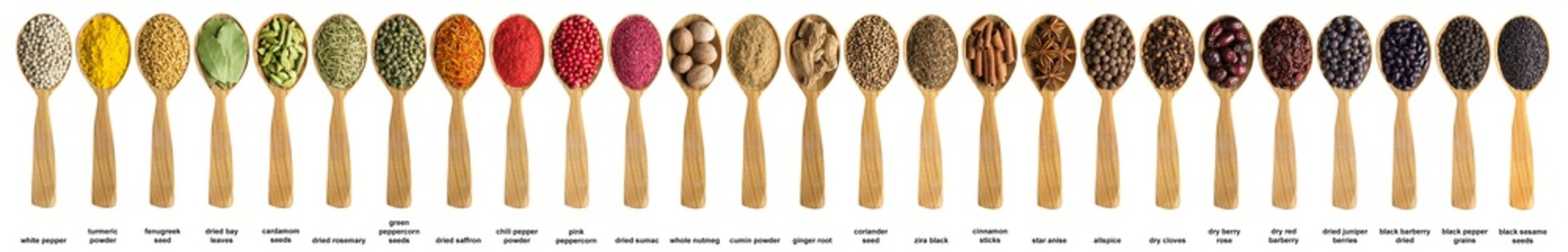 Various spices and herbs poured into a wooden spoon. Seasonings for food isolated on white background.