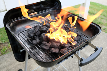 Charcoal briquettes firing up for the grill ready for barbeque