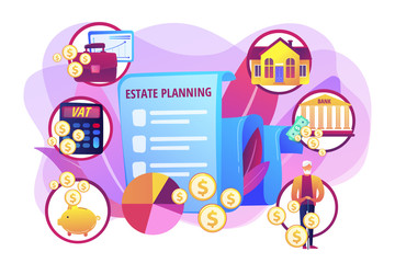Financial analysis and budgeting. Property taxes and expenses. Estate planning, real estate assets control, keep documents in order concept. Bright vibrant violet vector isolated illustration