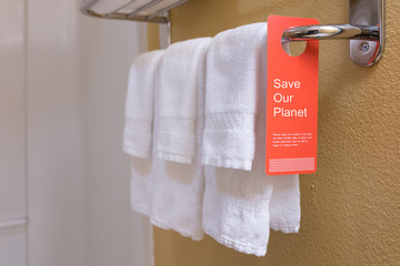 Save water sign label on hotel encourage guest reuse bath towel