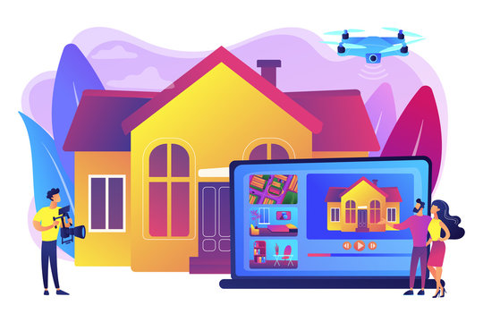 Couple watching house tour. Professional aerial property video. Real estate video tour, real estate marketing, real estate drone video concept. Bright vibrant violet vector isolated illustration