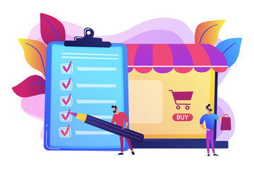 Man doing purchases from shopping list. Customer with package, buying goods. Purchase agreement, in-app purchase, buying process concept. Bright vibrant violet vector isolated illustration