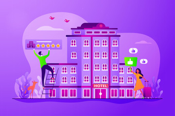 Traveler accommodation, apartment and motel booking. Hostel rating and reviews. Lifestyle hotel, modern hospitality trend, cutting-edge hotel concept. Vector isolated concept creative illustration