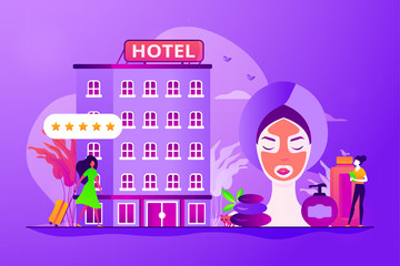 Hotel facilities and services. Businesswoman with suitcase. Wellness and spa hotel, enjoyable lifestyle, massage and bodywork service concept. Vector isolated concept creative illustration