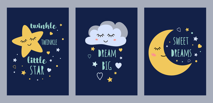 Dream sleep cards set for baby design Cute sleepy moon star cloud kids character vector