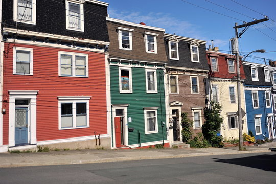 The colorful houses of St. John's City. Newfoundland. Canada.