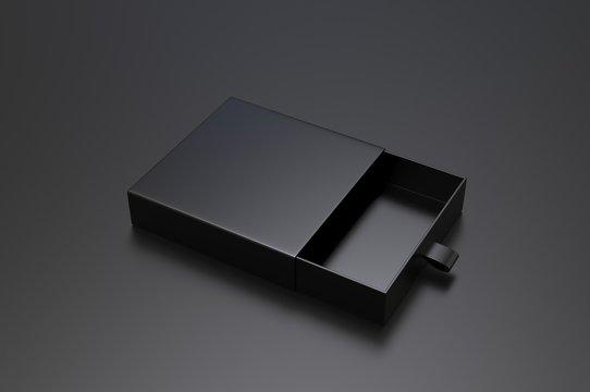 Blank sliding drawer  hard cardboard box for branding presentation 3d render illustration.