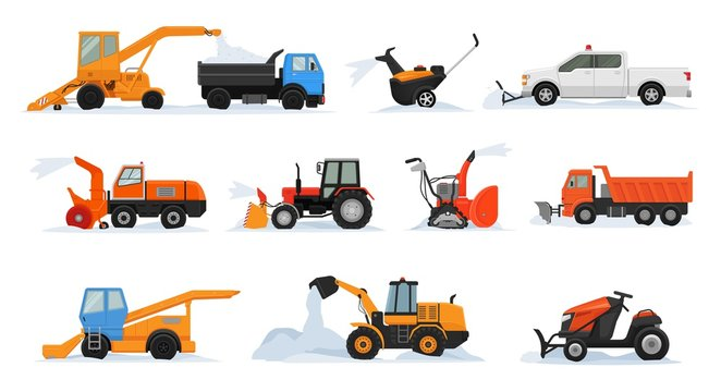 Snow removal vector winter vehicle excavator bulldozer cleaning removing snow illustration snowy set of snowplow equipment tractor truck snowblower transportation isolated on white background