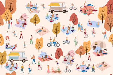 Flat design of group people outdoor in the autumn park on weekend. Editable vector illustration.