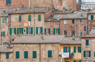 Fototapete - Historical residential building in Siena, Tuscany, Italy