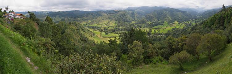 View of Cocora valley from Mirador Alto De La Cruz in Salento in Colombia