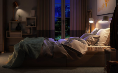 Modern Bedroom Arrangement by Night (detail) - 3d visualization