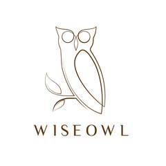 Simple elegant monoline owl logo design.