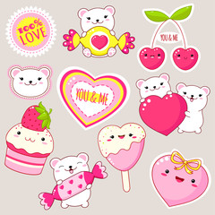 Set of cute Valentine's day icons in kawaii style