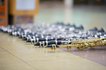 Close up of clarinet woodwind music instrument