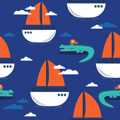 Door stickers Bestsellers Kids Crocodiles and boats, hand drawn seamless pattern. Marine background vector. Colorful illustration, overlapping backdrop. Decorative cute wallpaper, good for printing