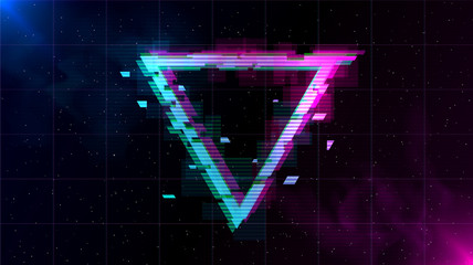 Synthwave Vaporwave Retrowave Glitch Triangle with blue and pink glows with smoke and particles on laser grid space background. Design for poster, cover, web, banner, wallpaper.