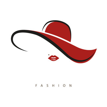 stylized woman with red hat and red lips vector illustration EPS10
