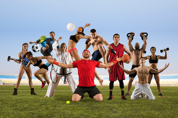 Sport collage. Tennis, soccer, taekwondo, fitness, bodybuilding, fighter and basketball players