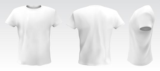 Vector illustration of white men T-shirt isolated on a light background. Fototapete