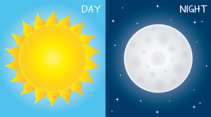 Day And Night Sun And Moon Vector Illustration.