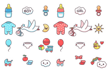 Cute kids elements for baby shower party vector cartoon set isolated on a white background.