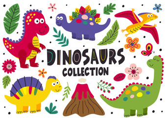 set of isolated cute dinosaurs part 1  - vector illustration, eps