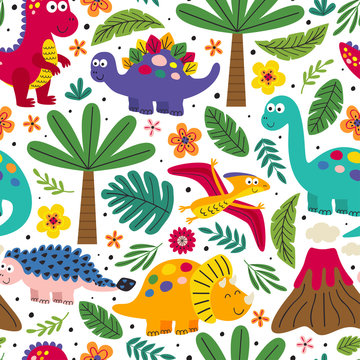 white seamless pattern with cute dinosaurs - vector illustration, eps