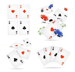 Realistic 3d Detailed Poker Card and Chip Set. Vector