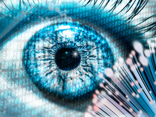 digital eye concept photo. fiber optic cable internet speed and secure digital data storage
