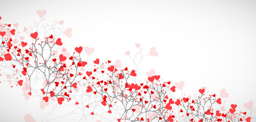 Abstract tree made with hearts. Vector
