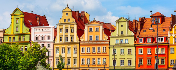 Wall Murals Wroclaw, Poland Old Town Salt Market Square panoramic banner with row of colorful houses